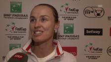 Link öffnet eine Lightbox. Video Martina Hingis nach dem Halbfinal-Einzug im Fed Cup abspielen