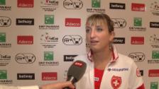 Link öffnet eine Lightbox. Video Timea Bacsinszky nach dem Halbfinal-Einzug im Fed Cup (franz.) abspielen