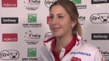 Link öffnet eine Lightbox. Video Interview mit Belinda Bencic vor dem Fed-Cup-Duell gegen Deutschland abspielen
