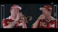 Link öffnet eine Lightbox. Video Raikkönen und Vettel lachen Tränen beim Versuch, Trompete zu spielen abspielen