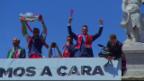 Video «Der grosse Moment: Feiern mit den Fans (Quelle: RTP)» abspielen