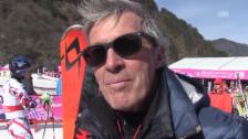 Link öffnet eine Lightbox. Video Pistenbauer Bernhard Russi zieht ein erstes Fazit zur Olympia-Strecke von 2018 abspielen
