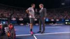 Video «Platzinterview Roger Federer mit Jim Courier (englisch)» abspielen