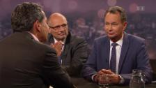 Link öffnet eine Lightbox. Video 200. Sendung «Schawinski» mit Philipp Müller und Alfred Heer abspielen