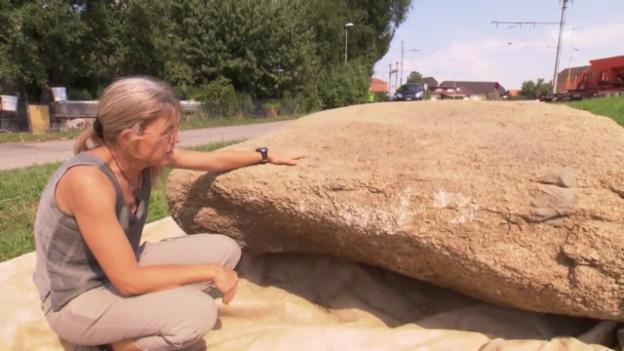 Video «Marianne Ramstein beschreibt die Deckplatte des Dolmengrabes.» abspielen