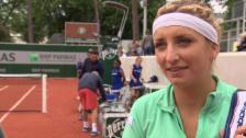 Link öffnet eine Lightbox. Video Bacsinszky nach ihrem Erstrundensieg im Interview abspielen