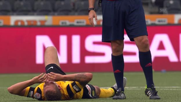 Video «Fussball: YB - Luzern, Verletzung Alexandre Gerndt» abspielen
