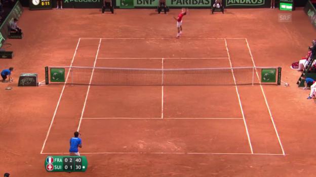 Video «Tennis: Davis Cup, Einzel Monfils - Federer» abspielen