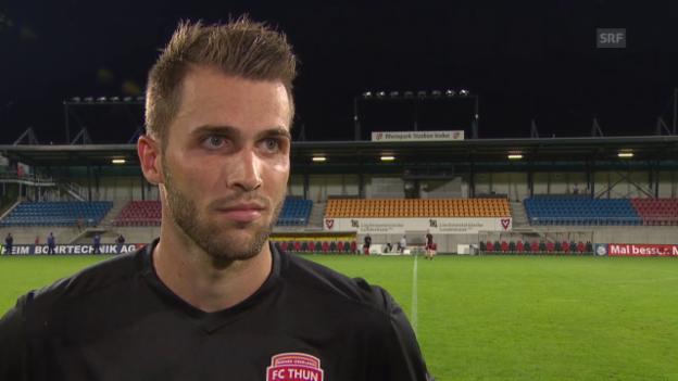 Video «Fussball: Europa League, 3. Quali-Runde. Rückspiel Vaduz-Thun, Interview Roman Buess» abspielen
