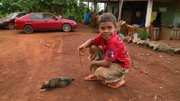 Video «Sky Paholo freut sich über seinen kleinen Hund» abspielen