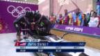 Video «Bob: Viererbob Männer, der 4. Lauf von Steven Holcomb (sotschi direkt, 23.2.2014)» abspielen