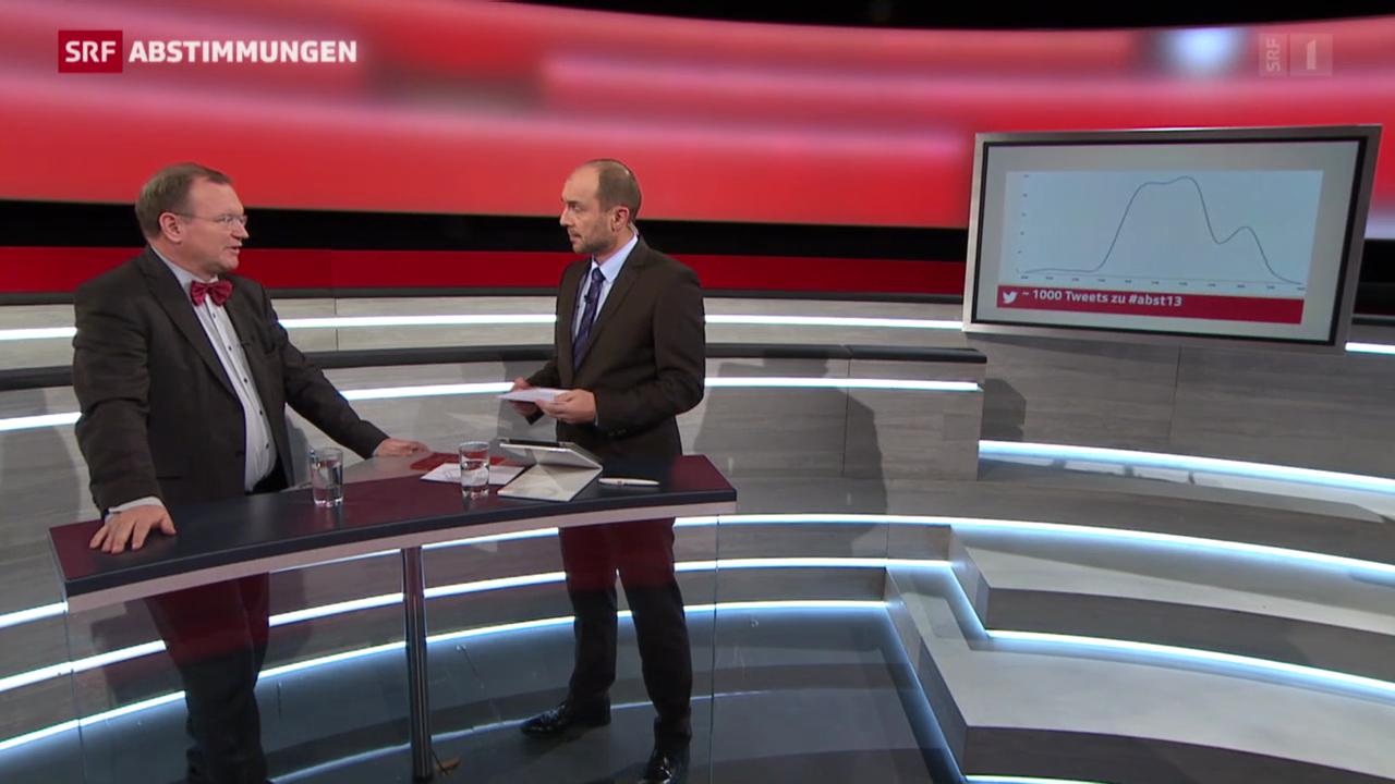 Claude Longchamp und Urs Leuthard diskutieren Tweets