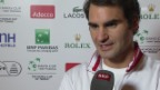 Video «Tennis: Roger Federer vor der Partie gegen Gaël Monfils» abspielen