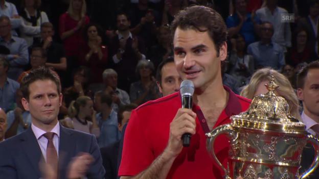 Video «Tennis: Swiss Indoors, Final, Siegerehrung Federer» abspielen