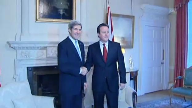Video «Kerry trifft Cameron in der Downing Street (unkommentiert)» abspielen
