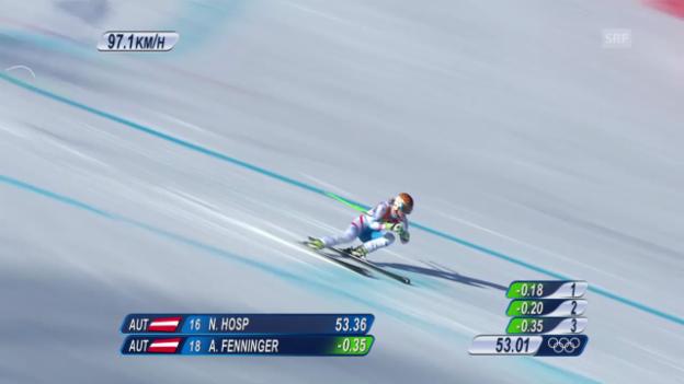 Video «Ski Alpin: Super-G Sotschi, Fahrt von Anna Fenninger (sotschi direkt, 15.02.2014)» abspielen