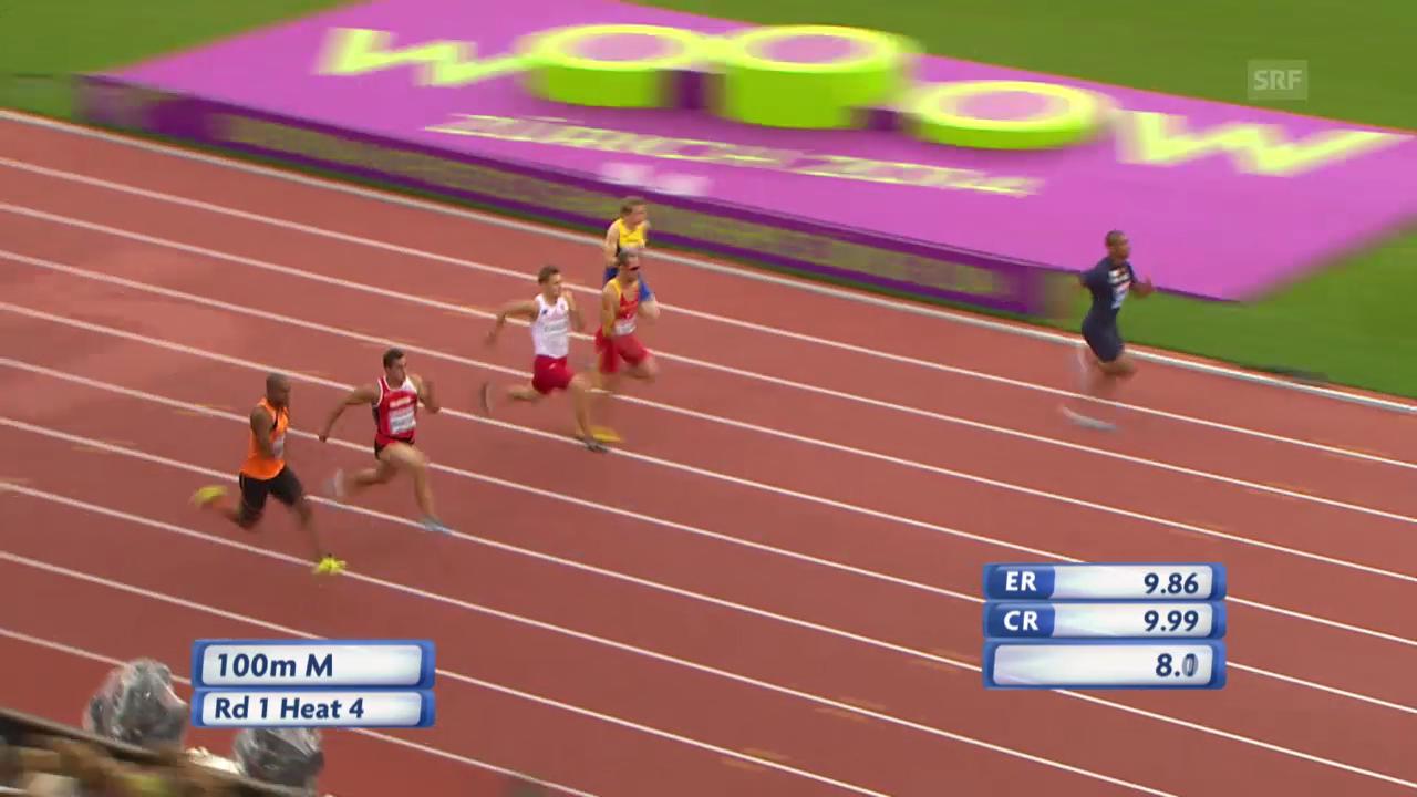 LA-EM: 100 m Männer, der Vorlauf von Pascal Mancini