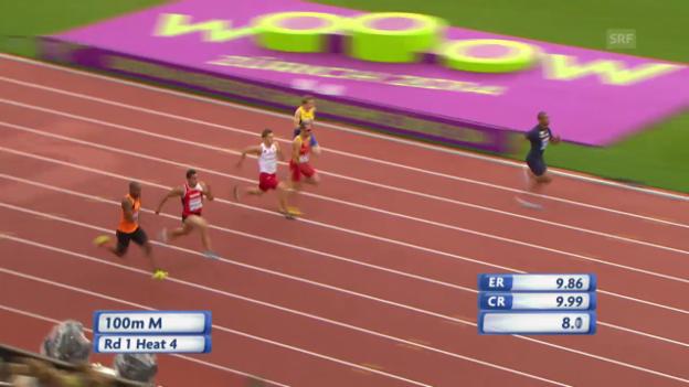 Video «LA-EM: 100 m Männer, der Vorlauf von Pascal Mancini» abspielen