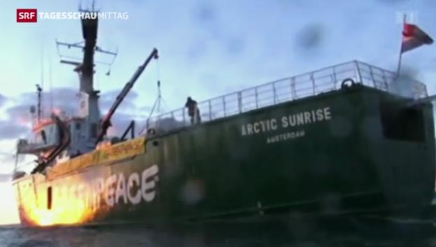 Video «Konflikt zwischen Greenpeace und russischen Behörden spitzt sich zu» abspielen