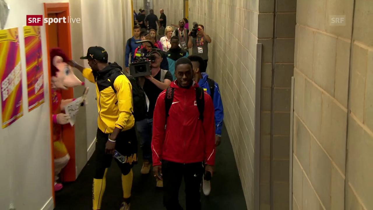 Witzig wie immer: Bolt «bodigt» das Maskottchen