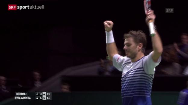 Video «Tennis: ATP-500-Turnier Rotterdam, Zusammenfassung des Finals Wawrinka - Berdych (aus «sportaktuell»)» abspielen