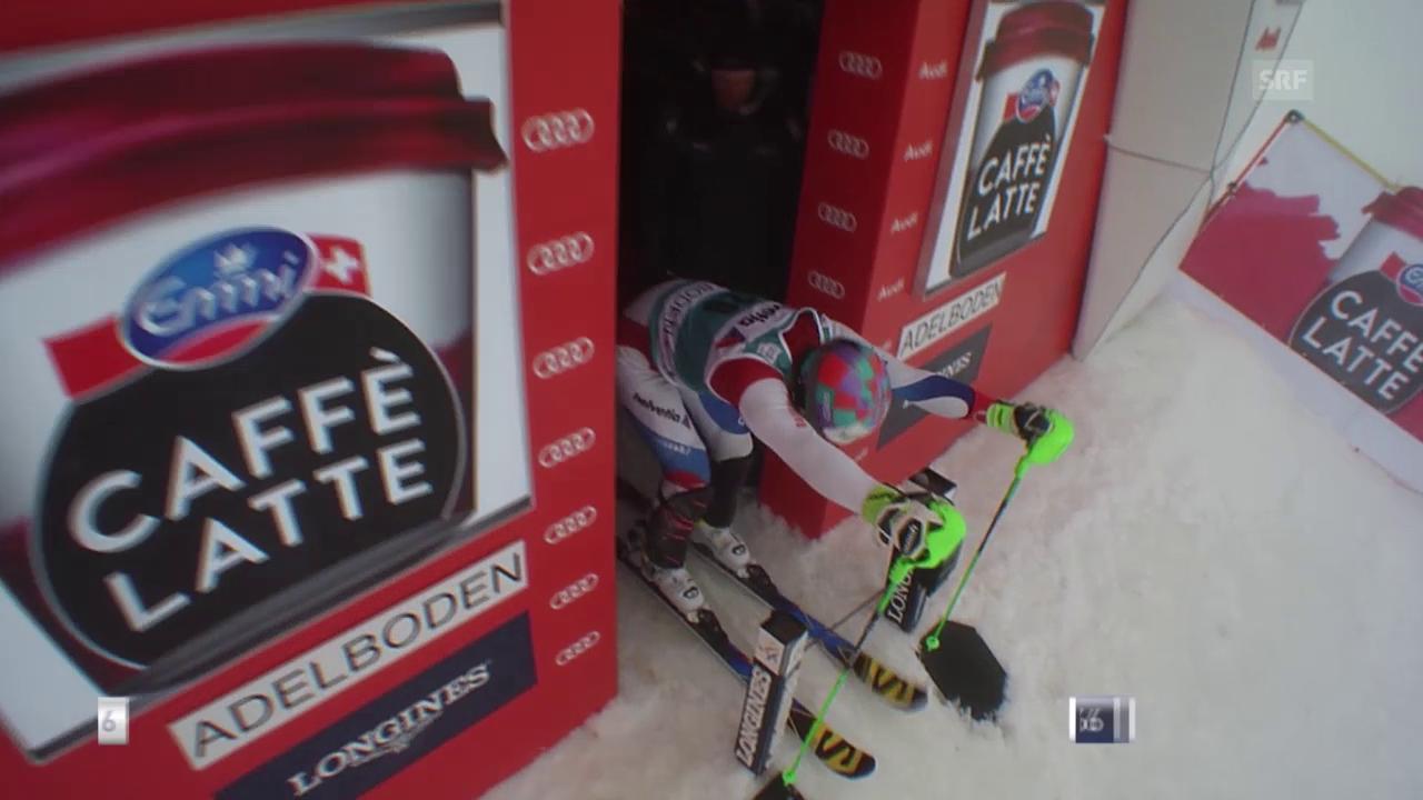 Luca Aerni fährt im Slalom in Adelboden in die Top 15