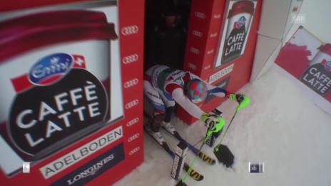 Video «Luca Aerni fährt im Slalom in Adelboden in die Top 15» abspielen