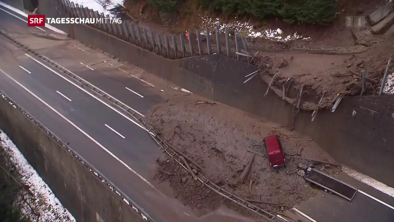 Gotthard-Autobahn wegen Schlammlawine gesperrt