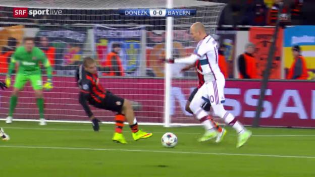 Video «Fussball: Champions League, Zusammenfassung Achtelfinal-Hinspiel Schachtar Donezk - Bayern München» abspielen