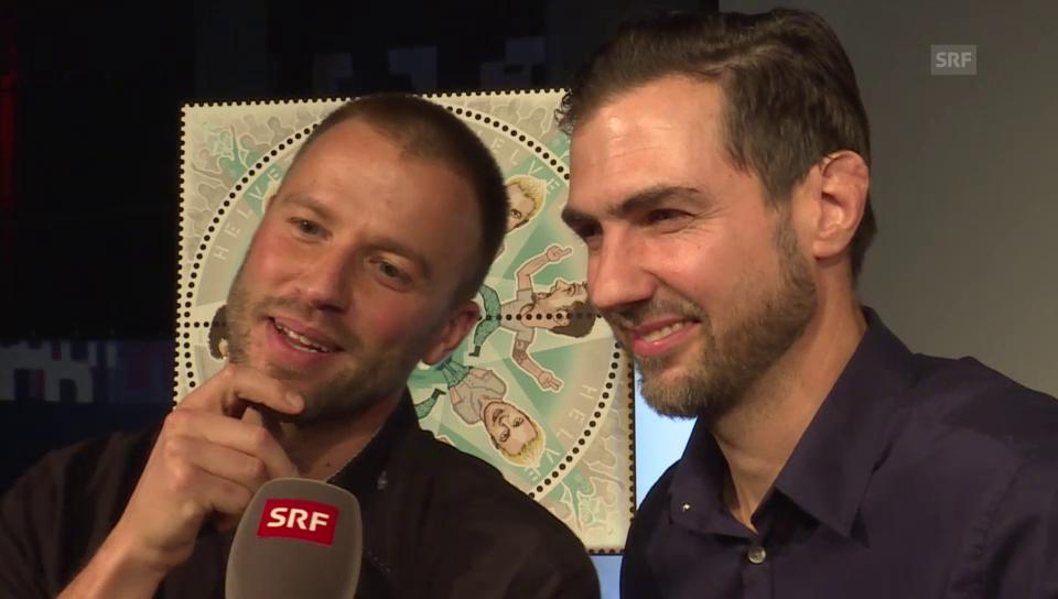 Manu Burkhart und Jonny Fischer über ihre abschleckbare Briefmarke