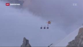 Video «33 Touristen am Mont Blanc in Seilbahn blockiert» abspielen