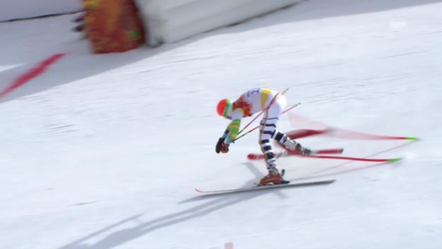 Video «Ski: Riesenslalom Männer Sotschi, Ausfall von Stefan Luitz im 1. Lauf (sotschi direkt, 19.2.14)» abspielen
