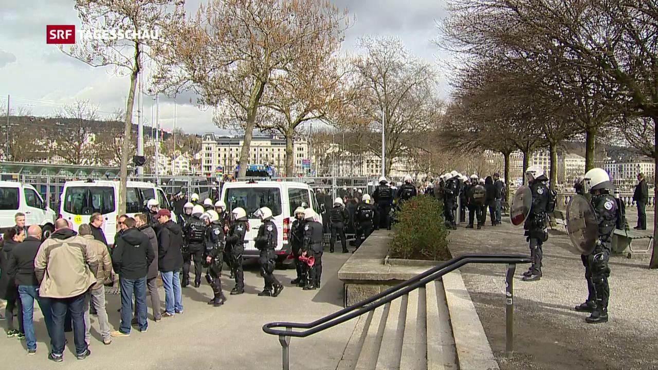 Die SVP feiert, die Polizei passt auf