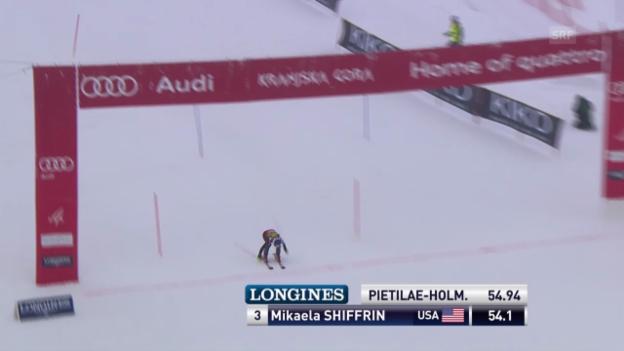 Video «Ski: Slalom Kranjska Gora, 1. Lauf von Mikaela Shiffrin («sportlive», 02.02.2014)» abspielen