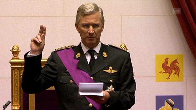 Video «Könige Philippe bei der Amtseinsetzung» abspielen