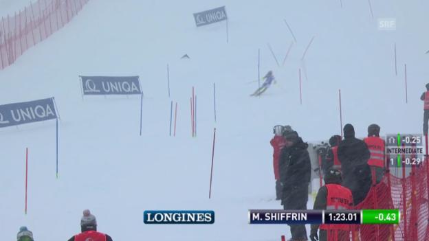 Video «Ski: Slalom Frauen Kühtai, 2. Lauf Shiffrin» abspielen