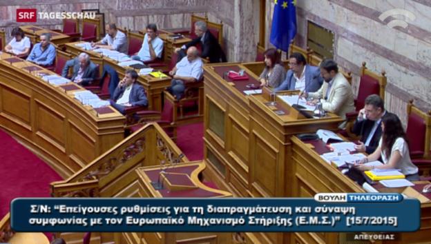 Video «Griechisches Parlament entscheidet über Sparprogramm» abspielen