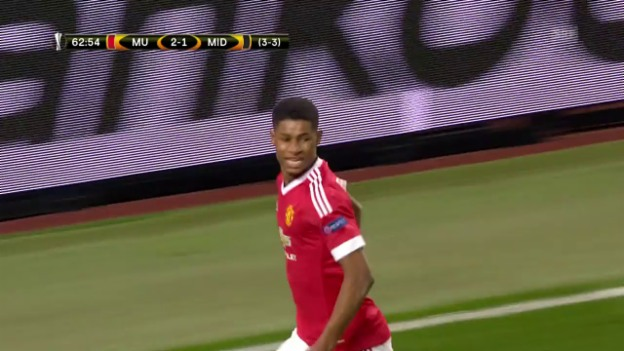 Video «Rashfords Debüt-Treffer in der Europa League» abspielen