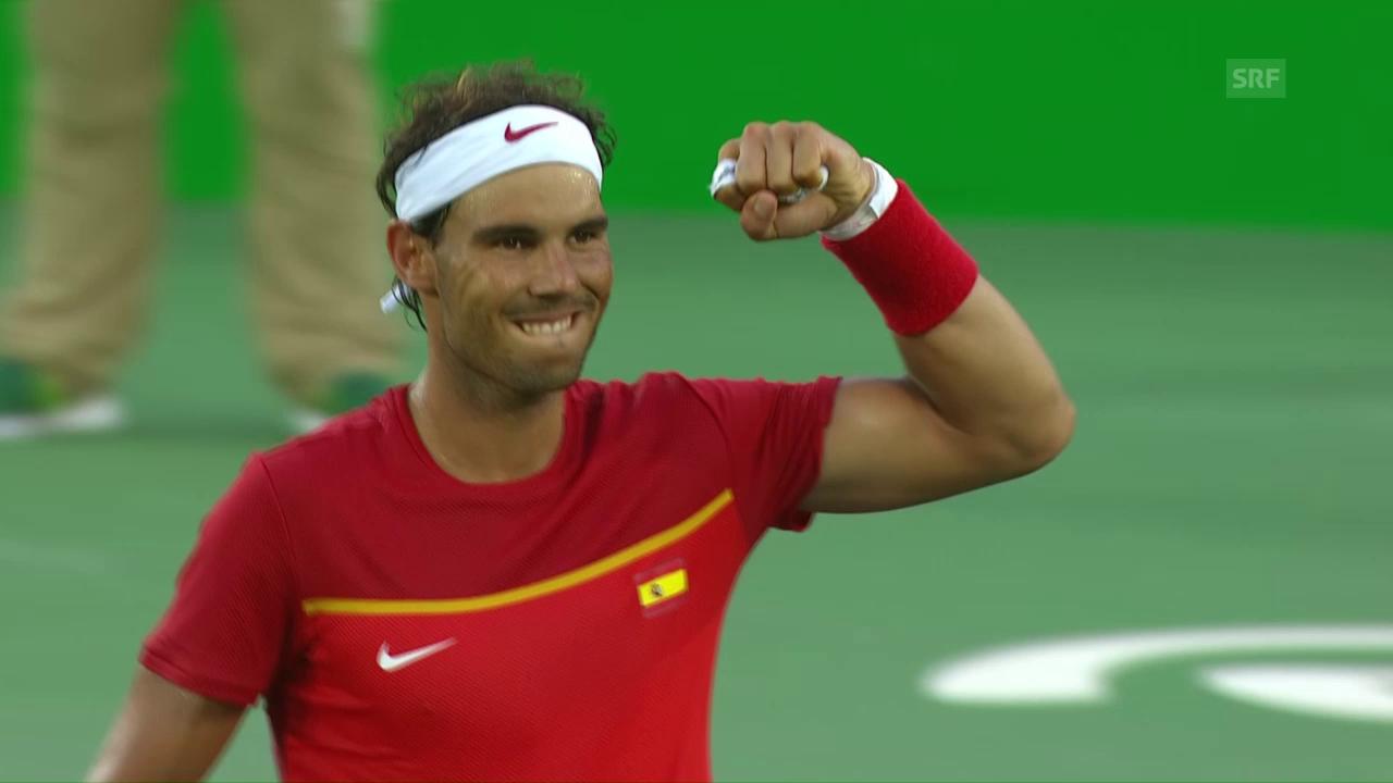 Nadal verwertet seinen Matchball zum 2:1-Sieg