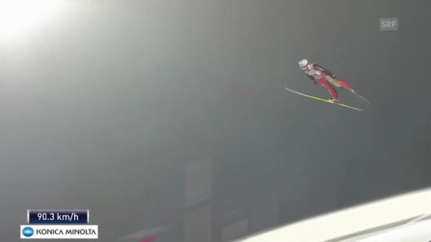 Video «Skispringen: Weltcup in Falun, 1. Sprung Simon Ammann» abspielen