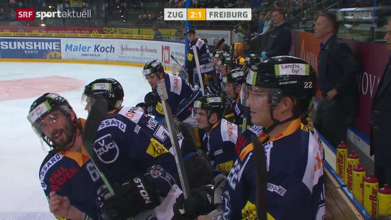 Eishockey: Zug - Freiburg, Trashtalk zwischen Ramholt und Rathgeb
