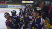 Video «Eishockey: Zug - Freiburg, Trashtalk zwischen Ramholt und Rathgeb» abspielen