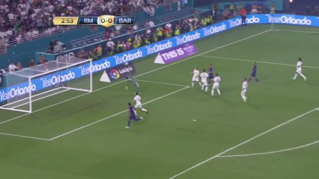 Video «Sieg für Barcelona im Exil-Test-Clasico» abspielen
