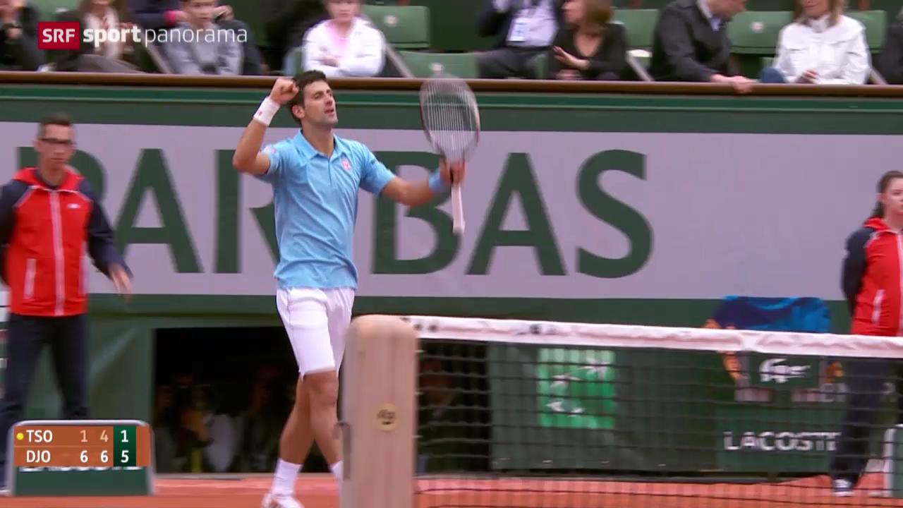 Tennis: French Open, Djokovic - Tsonga: Die entscheidenden Ballwechsel («sportpanorama»)