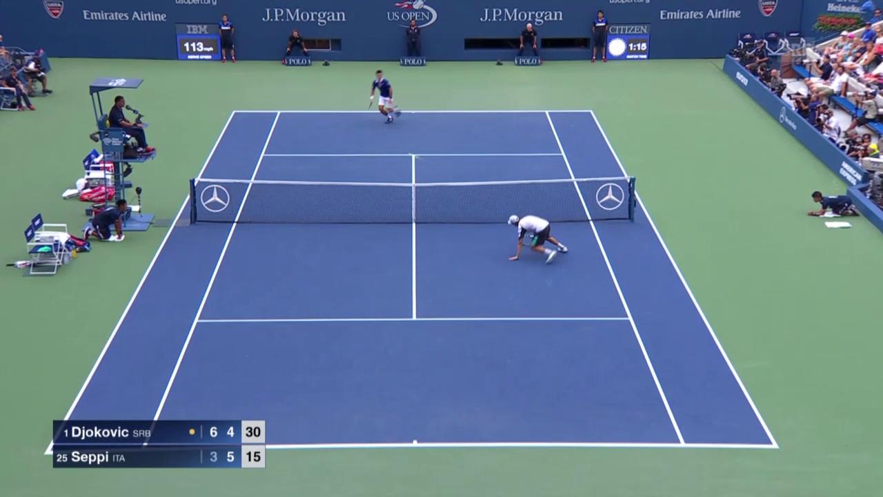 Tennis: US Open, Toller Ballwechsel Djokovic - Seppi