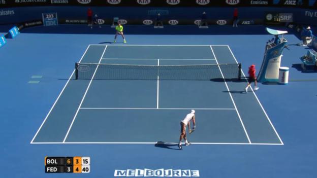 Video «Break und Satzball für Federer» abspielen