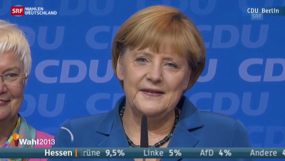 Merkels Reaktion zum Wahlergebnis