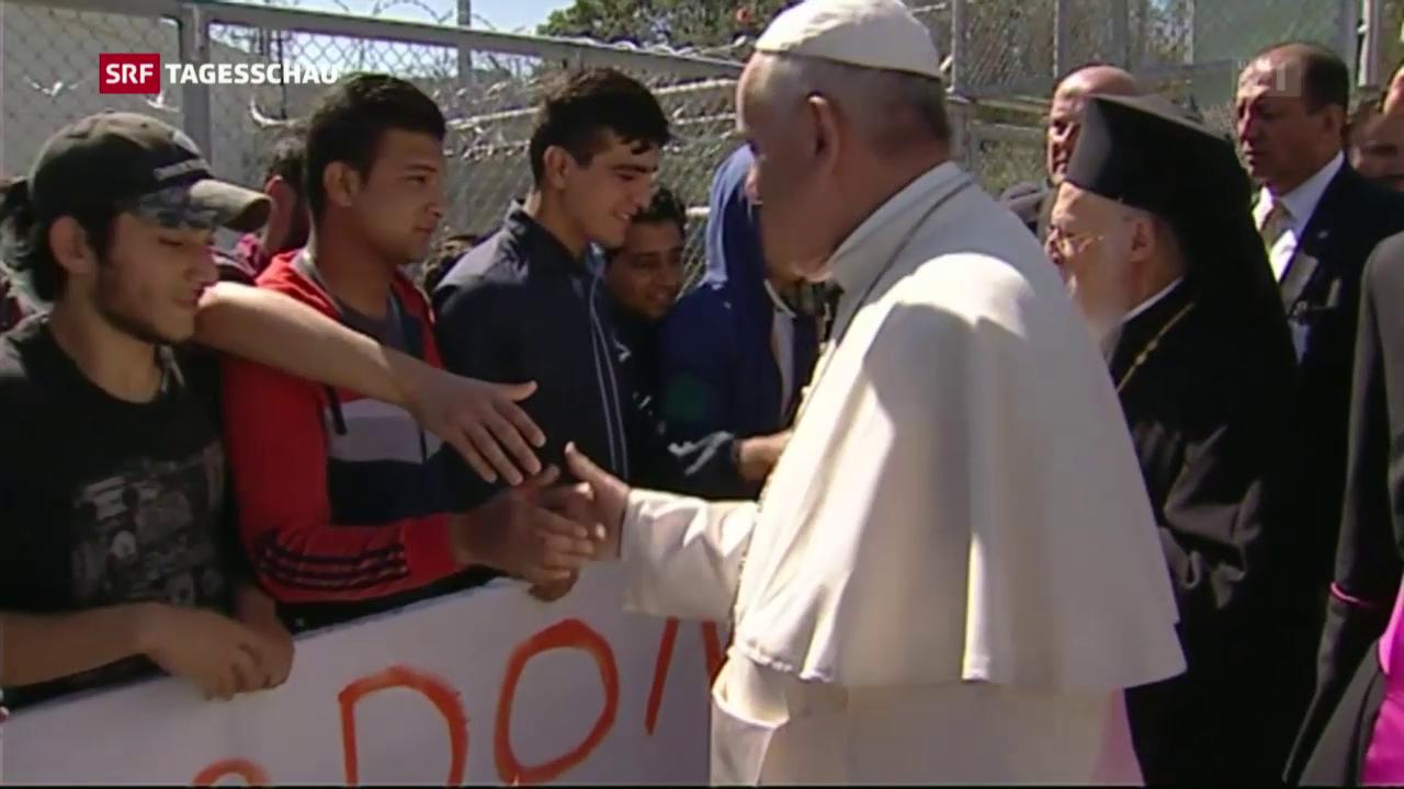 Papst bei den Flüchtlingen auf Lesbos