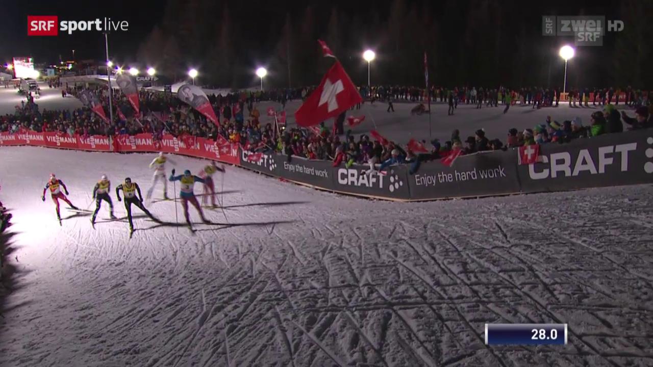 Langlauf: Sprint Lenzerheide, Final Männer mit Dario Colognas Sturz