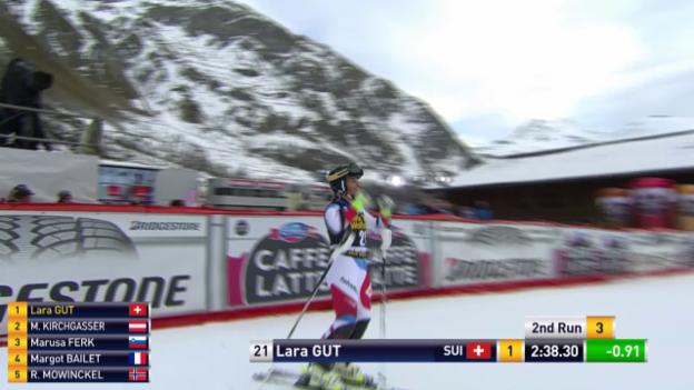 Video «Ski: Super-Kombi Frauen in Val d'Isère, Siegfahrt Lara Gut» abspielen